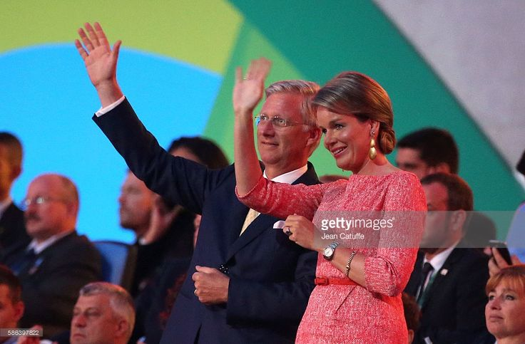 King Philippe of Belgium and Queen Mathilde of Belgium wave to their delegation during the opening ceremony of the 2016 Summer Olympics at Maracana Stadium on August 5, 2016 in Rio de Janeiro, Brazil.