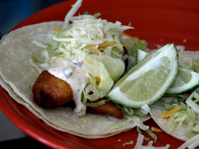 Lua Los Angeles: blue moon beer battered fish tacos.