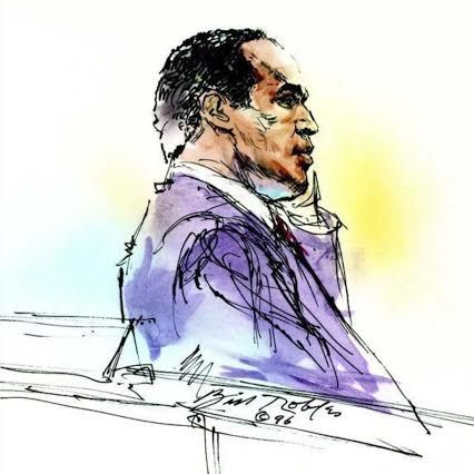 Bill Robles's courtroom sketch of O.J. Simpson from the 1996 civil trial. (courtesy of Bill Robles)
