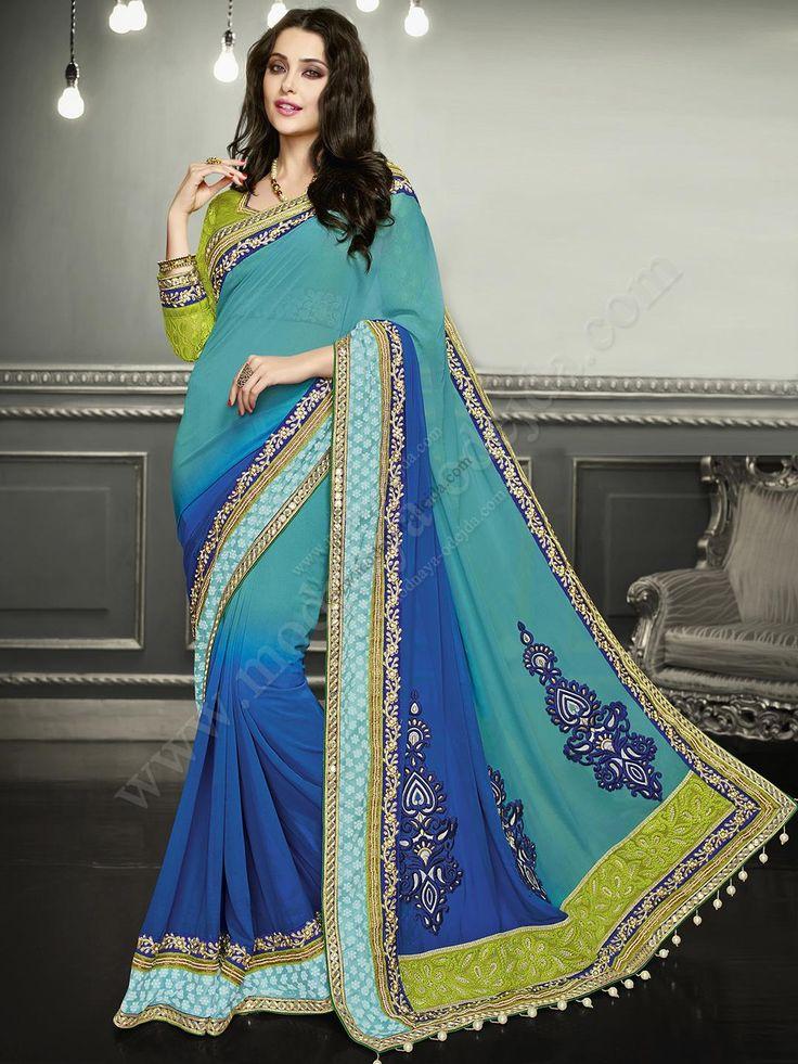 Синее красивое индийское сари из шифона, украшенное вышивкой скрученной шёлковой нитью с люрексом и кусочками зеркалец