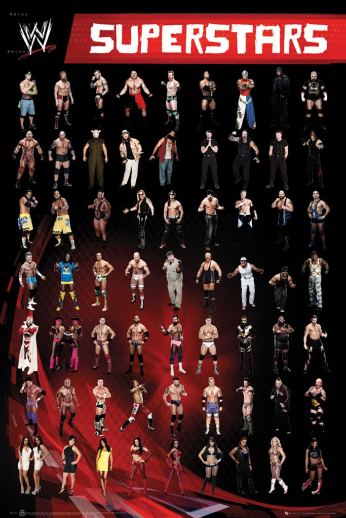 WWE Superstars   Official Poster. Official Merchandise. Size: 61cm X 91.5cm.