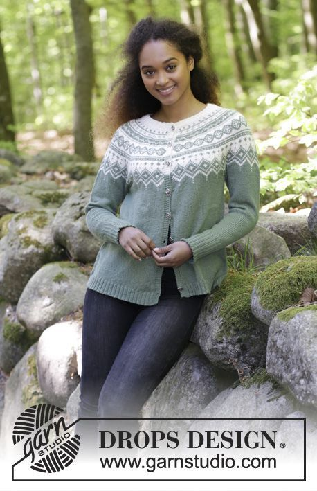 Perles du Nord Jacket - Knitted jacket with round yoke, multi-coloured Norwegian pattern and A-shape, worked top down. Sizes S - XXXL. The piece is worked in DROPS Flora. Free knitted pattern DROPS 180-4