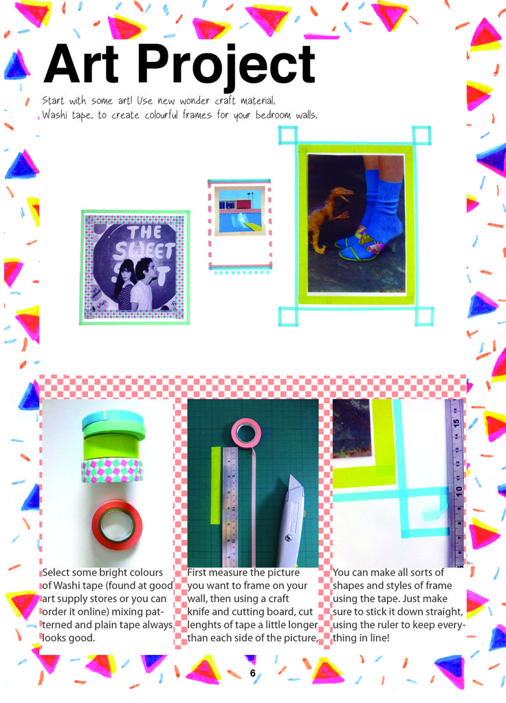 Issue 1 Art Project. Using washi tape as colourful frames for your photographs.