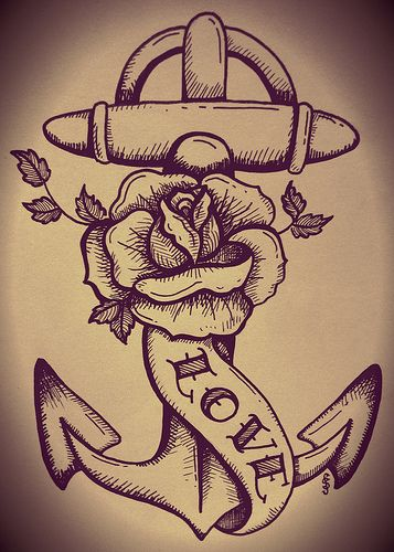 traditional tattoo anchor and rose   Flickr - Photo Sharing!