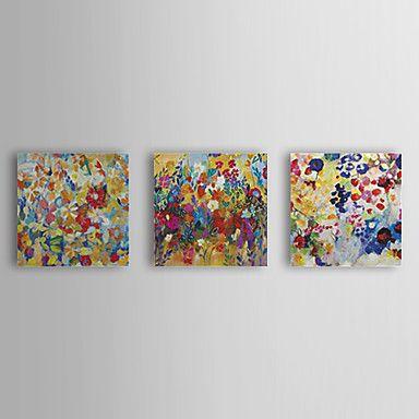 Hand+geschilderd+olieverfschilderij+Bloemen+met+gestrekte+frame+Set+van+3+1309C-FL0835+–+EUR+€+74.24