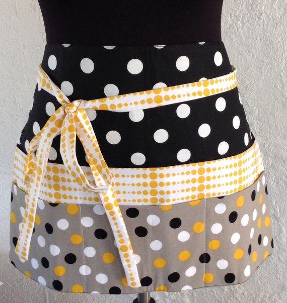 vendor apron waitress apron teacher apron utility apron - black, white & polka dot apron with 6 pockets