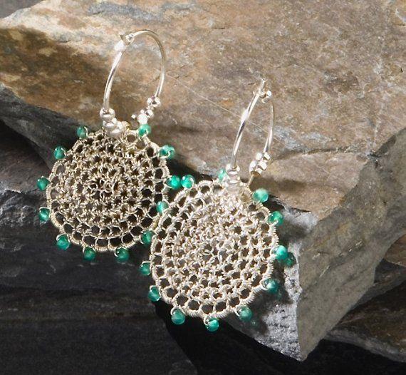 ENCHANTED WOODS, Earrings, hoops, silver, green onyx via Etsy
