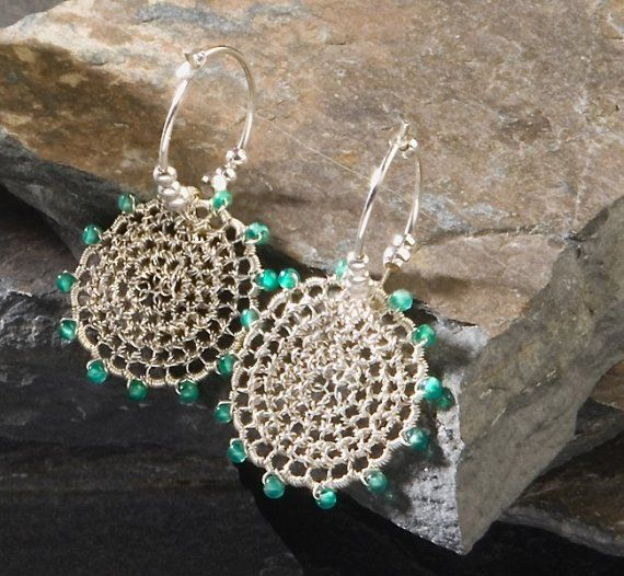 ENCHANTED WOODS, Earrings, hoops, silver, green onyx via Etsy