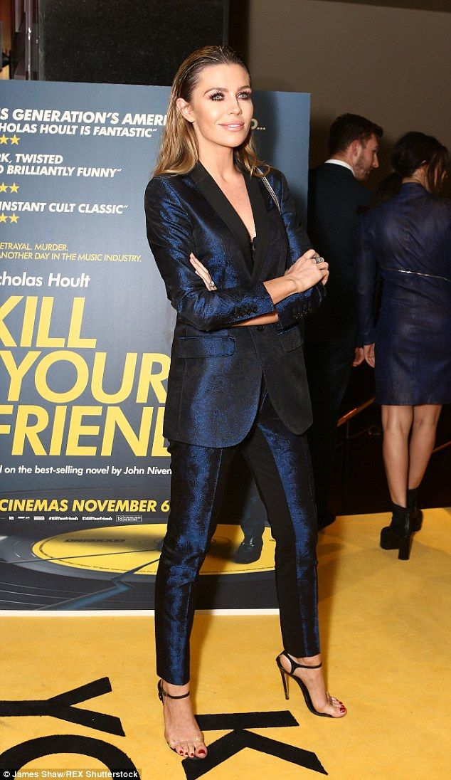 Abbey Clancy goes shirtless as she suits up in satin blazer with a plunging neckline for edgy look at Kill Your Friends film screening | Daily Mail Online