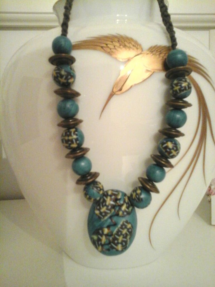 Necklace handmade in polymerclay and wire by La stanza fatata
