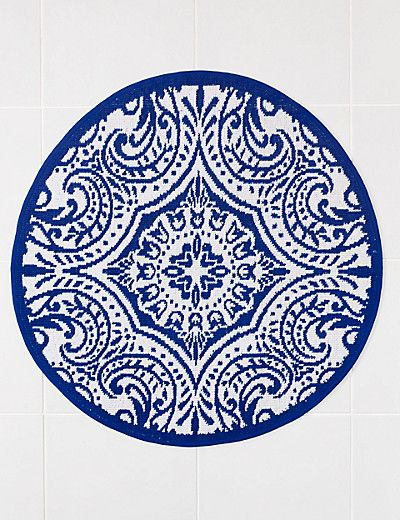 Tile Print Bath Mat M&S £19.50 Blue and white in a bathroom is a classic - bright, fresh. and timeless.