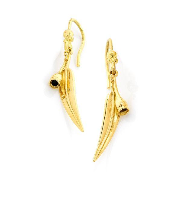 Gumleaf & Nut Earrings in 18ct yellow gold. Australian Jewellery $495