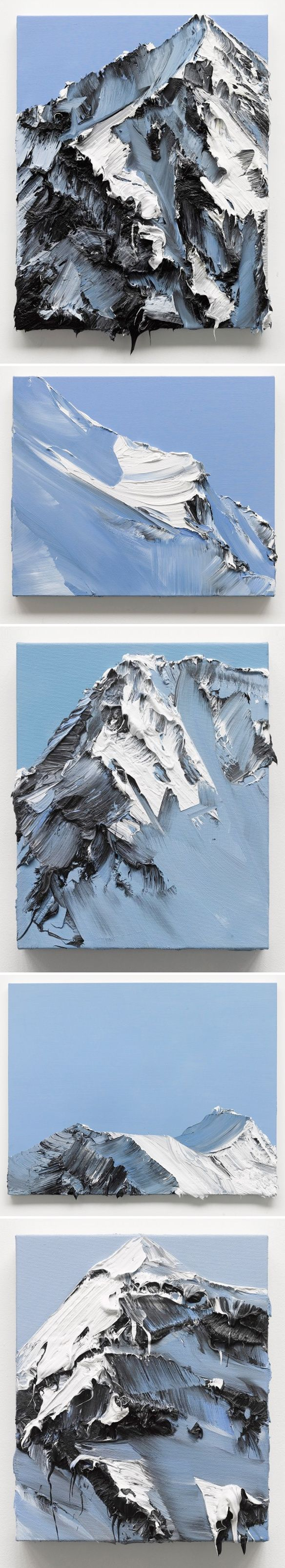 Amazing acrylic mountain paintings, that dripping effect too :O