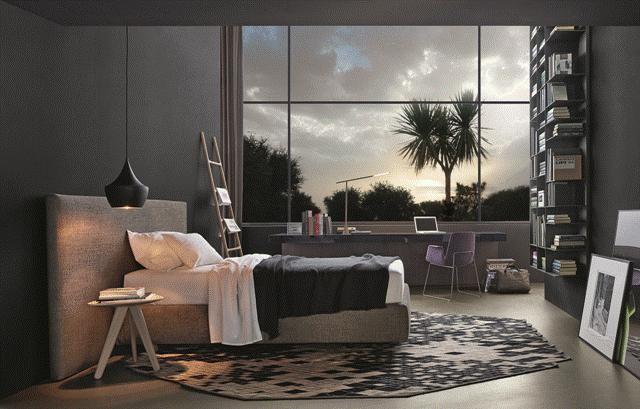 POLIFORM: Arca bed, Slego bookcase, Ipsilon stool in oak, Ventura chair and Sintesi desk