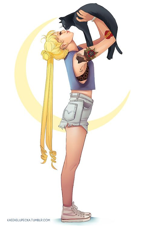 kasiaslupecka: Sailor Moon - Usagi and Luna. But instead using...