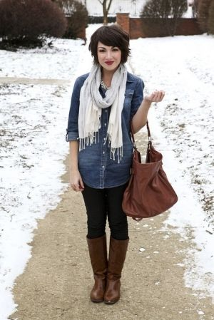 Oversized chambray, leggings, white scarf, purse and riding boots! Chambray is just one of those things for every season!