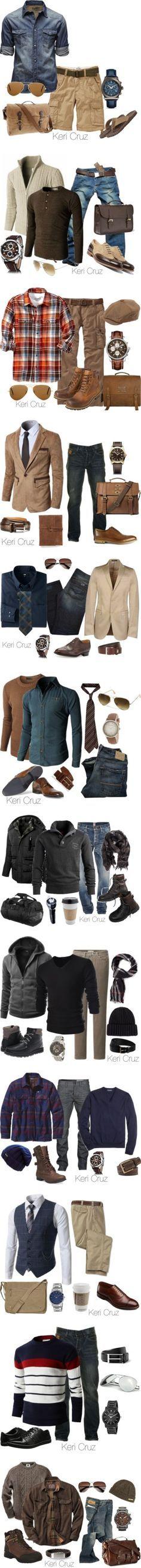 Vários tipos de combinações de roupa