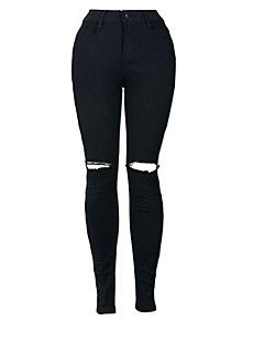 Women's Skinny Jeans Pants,Casual/Daily Street chic Solid High Rise Button Polyester Stretchy Fall / Winter