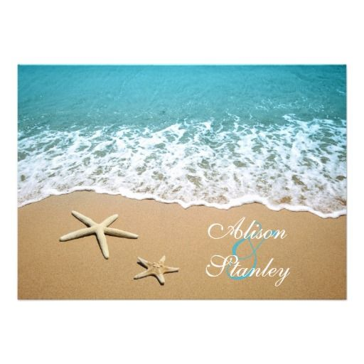 Beach Wedding Invitations Pair Of Starfish Beach Destination Wedding RSVP  Invites Tropical Island Exotic Wedding Location