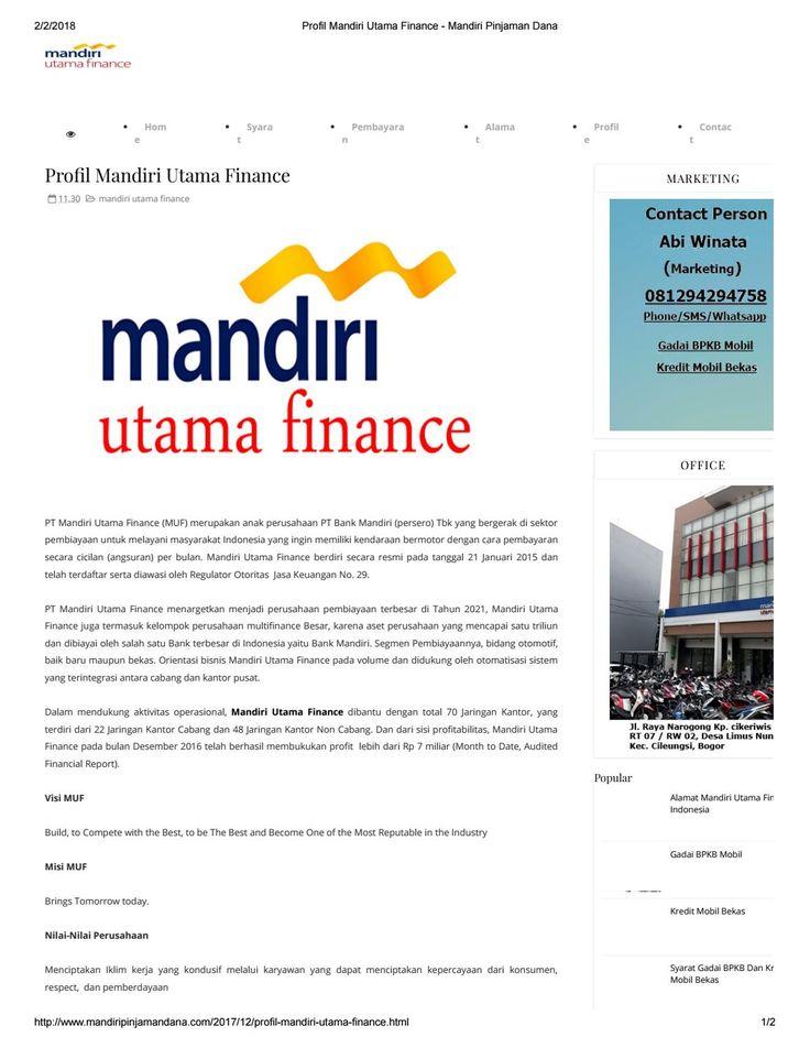 Profil mandiri utama finance mandiri pinjaman dana ...