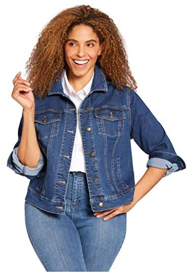 7daf3d41208 Chic Woman Within Plus Size Stretch Denim Jacket online.   39.99   topbrandsclothing from top store