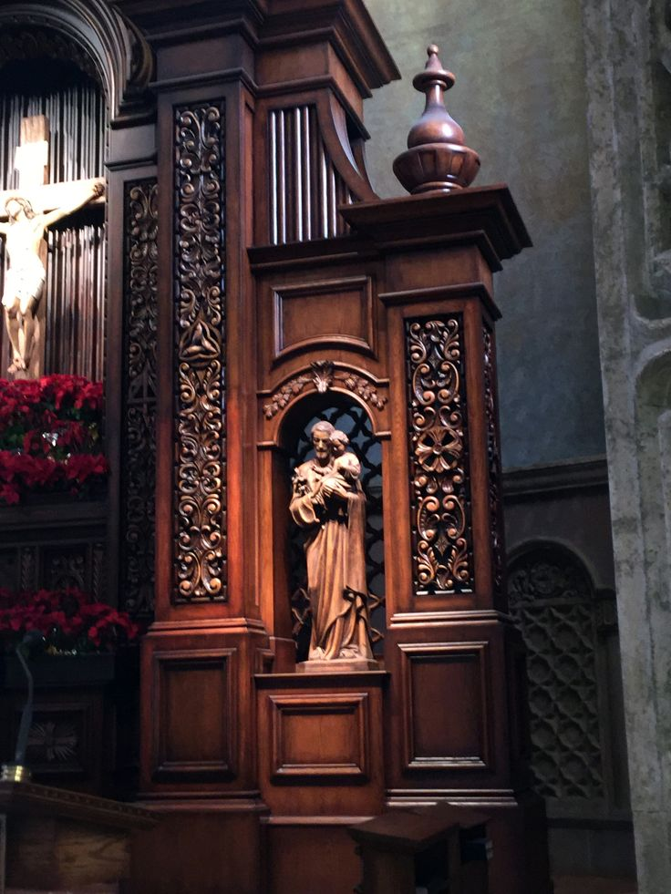 Woodworking details from the Reredos renovation at St. Charles Borromeo Catholic Church, North Hollywood, CA