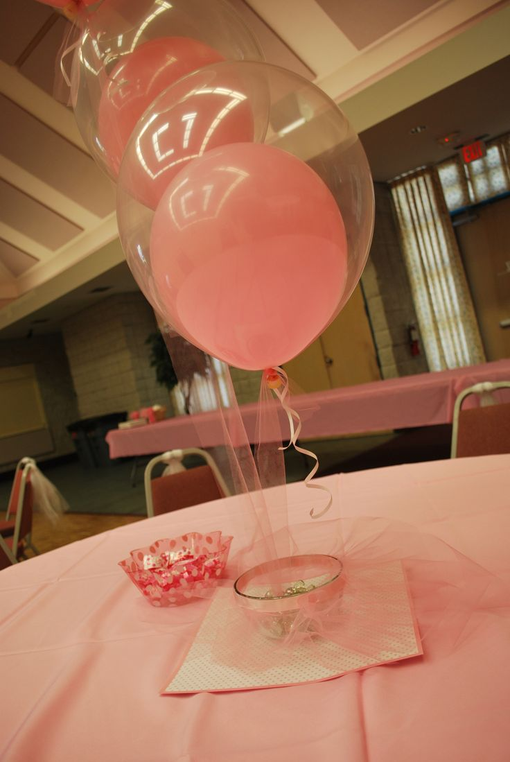 Double bubble balloons with link tulle instead of curling ribbon. Pink and white ballerina tutu baby shower