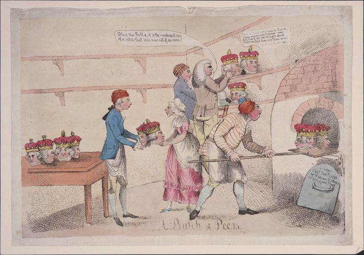 A batch of peers, 1792. Depicts King George, Queen Charlotte and William Pitt in a bakery making new peers. Possibly as a response to the large number of peerages given out during George III's reign.