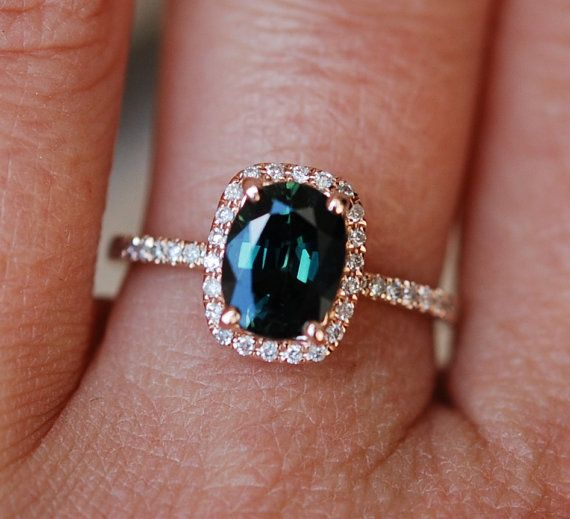 Green sapphire engagement ring. Peacock green sapphire 1.78ct cushion halo diamond  ring 14k Rose gold. Engagenet rings by Eidelprecious.