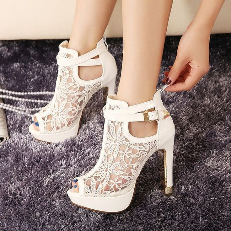 Shoespie White Lace Inset Peep Toe Platform Heels