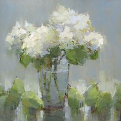 White Hydrangeas and Pears by Barbara Flowers