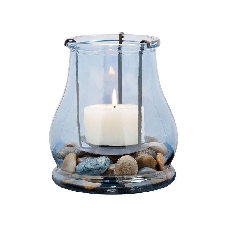 Caspian 7 in. Rustic Iron and Denim Glass Hurricane Candle Holder, Blues