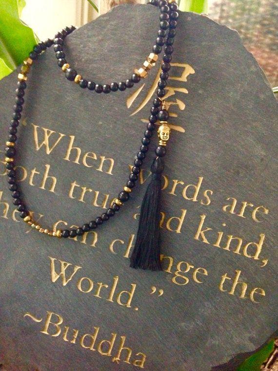 Mala necklace, buddha,yoga,108 beads, tassel, meditative
