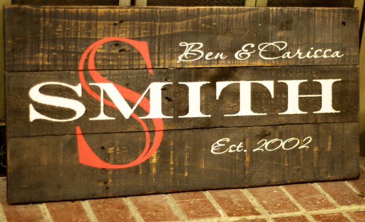 refurbished wood family name sign - Google Search