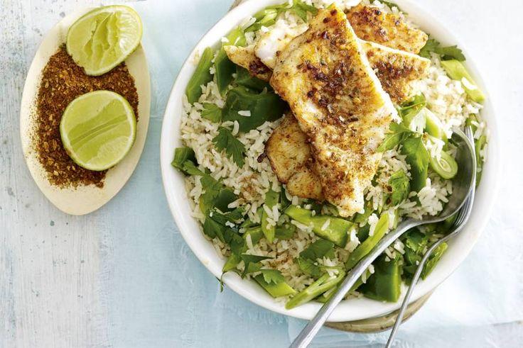 Kijk wat een lekker recept ik heb gevonden op Allerhande! Caribische vis met groene pilav