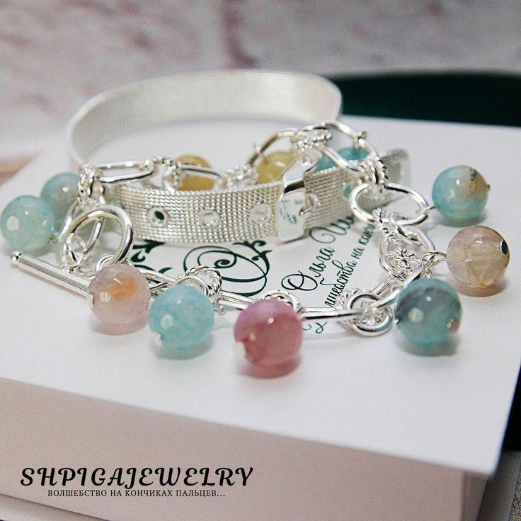 agate bracelet agate jewelry gemstone bracelet gift for her women's bracelet Bracelet set bangle bracelet set silver bracelet silver jewelry by OlgaShpiga on Etsy