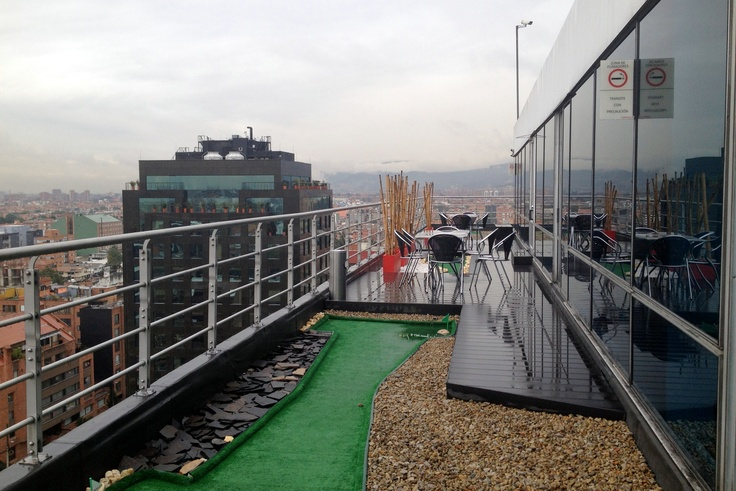 Bogota, Calle 100 Carrera 15, Playing golf in a rainy day, on the roof...