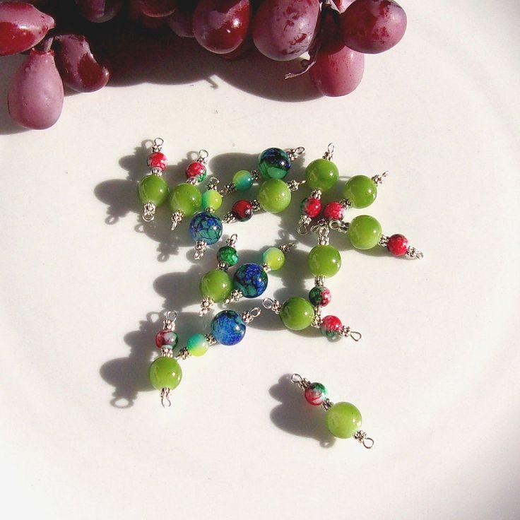 Connecteurs mixte perles glass bleu vert