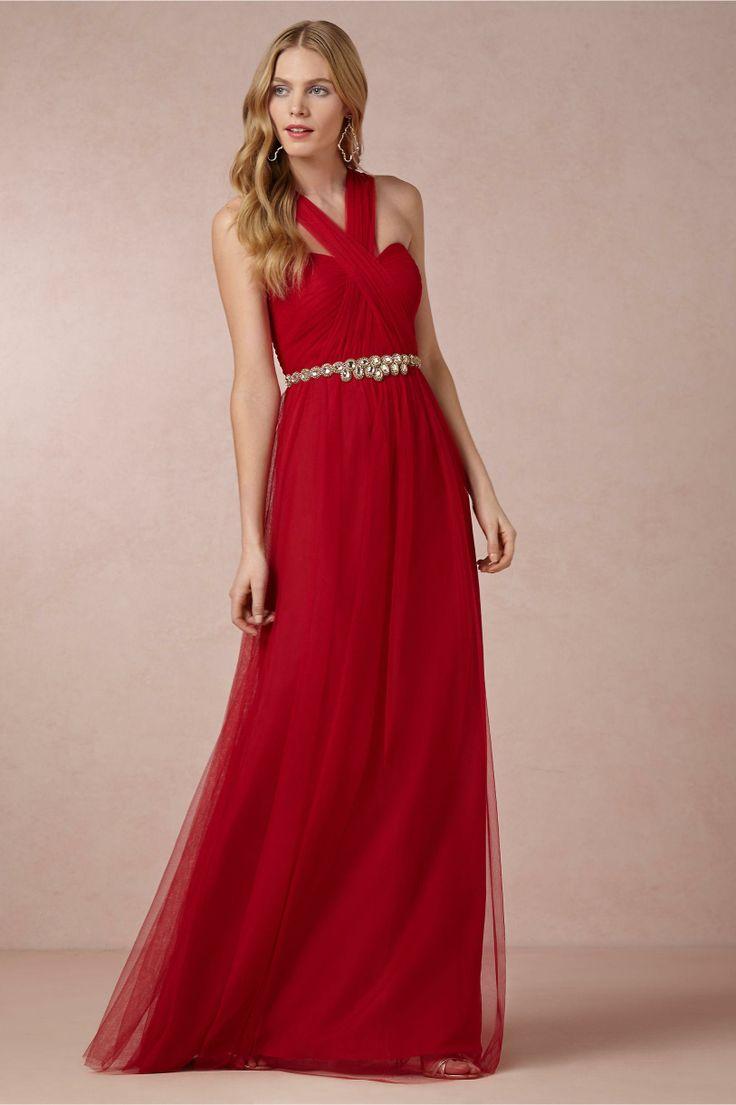 Annabelle Bridesmaid Dress in Poppy Red from BHLDN #trajesdenoche #modafiesta