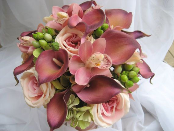 Tropical Wedding bouquet with Calla Lilies,Garden Roses,Hypericum Berries and Hydrangea via Etsy
