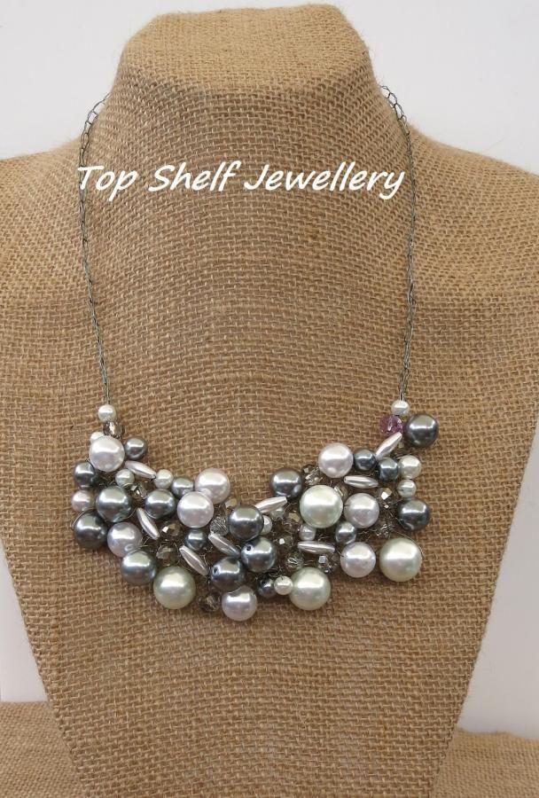 Grey Cream Crochet Wire and Beaded Bib Necklace - Jewelry creation by Top Shelf Jewellery & Accessories