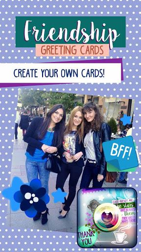 "❀ <b>""Happy friendship day""!</b><br>❀ Celebrate the day of the ""best friends"" with Friendship Greeting Cards!<br>❀ Make beautiful ""friendship ecards"" with this collage photo editor!<br>❀ ""Beautiful quotes and images about friendship"" are featured in this greeting cards creator!<p>❀ <b>Custom ""greeting cards"" creator!</b> Make personalized cards for your dearest friends! Friendship Greeting Cards app is a unique photo collage editor which lets you use your own images of friendship to create…"
