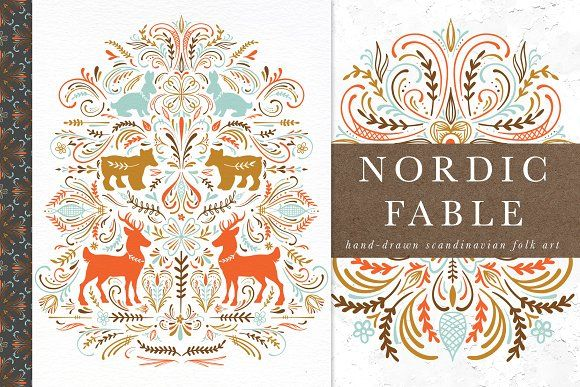 Nordic Fable Scandinavian Folk Art Scandinavian Folk Art Folk Art Illustration Art