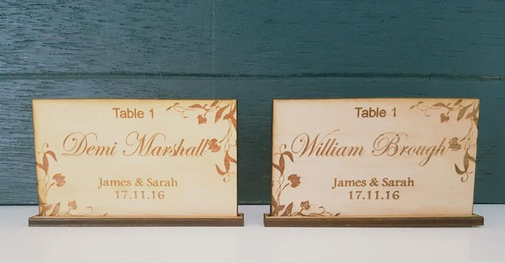 Personalised Timber Wedding Table Cards Rectangle