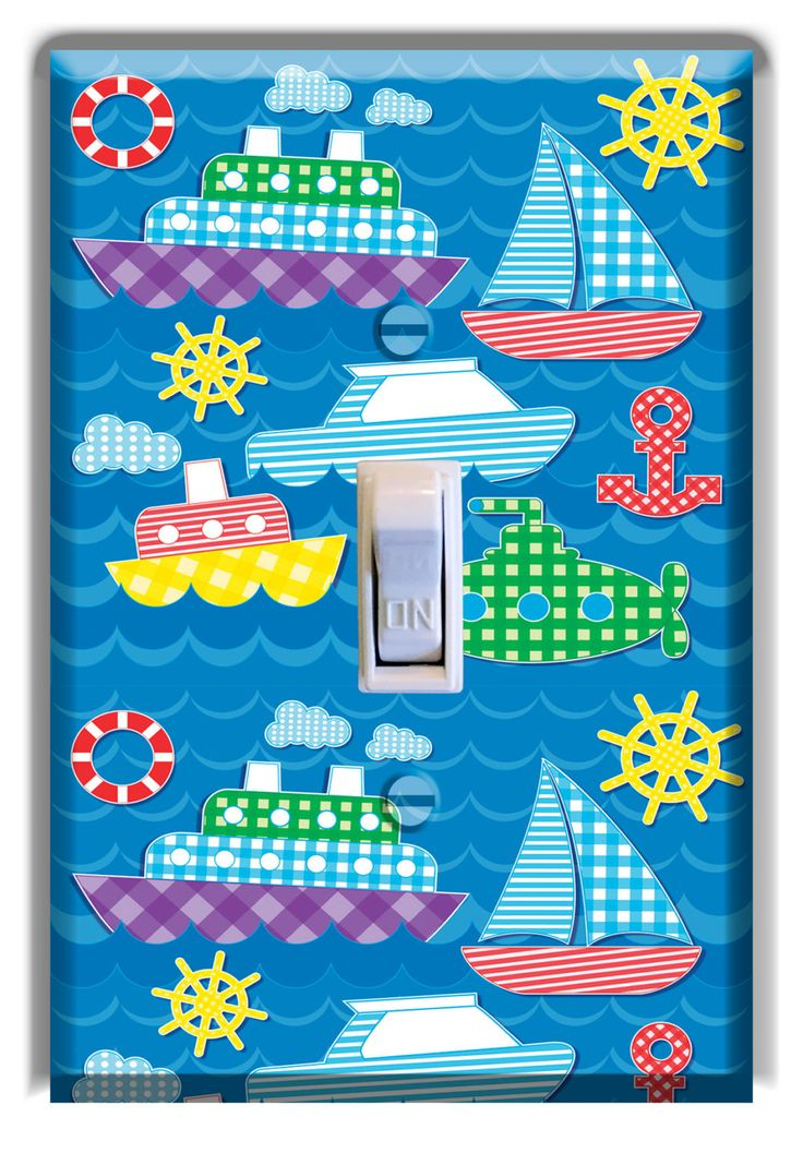 Light Switch Cover Sailboat Plaid Nautical Decor Kid Room Nursery Decor Baby Boy Girl Nursery Decoration