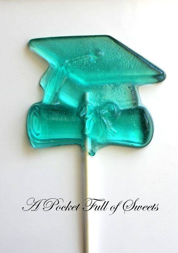 GRADUATION PARTY Favors Barley Sugar Hard Candy Lollipops Graduation Gifts. $14.99, via Etsy.