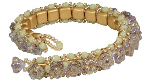 'Fleurette' bracelet by Starman TrendSetter Nichole Starman. Ask your local bead store for this royalty-free bead pattern that features CzechMates 2-Hole Tile beads, Czech fire polish, and TOHO seed beads.