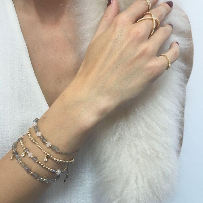 Bransoletka / labradoryt / jadeit pudrowy róż / GF / szary jedwabny sznurek - Selfie Jewellery - Sklep Internetowy