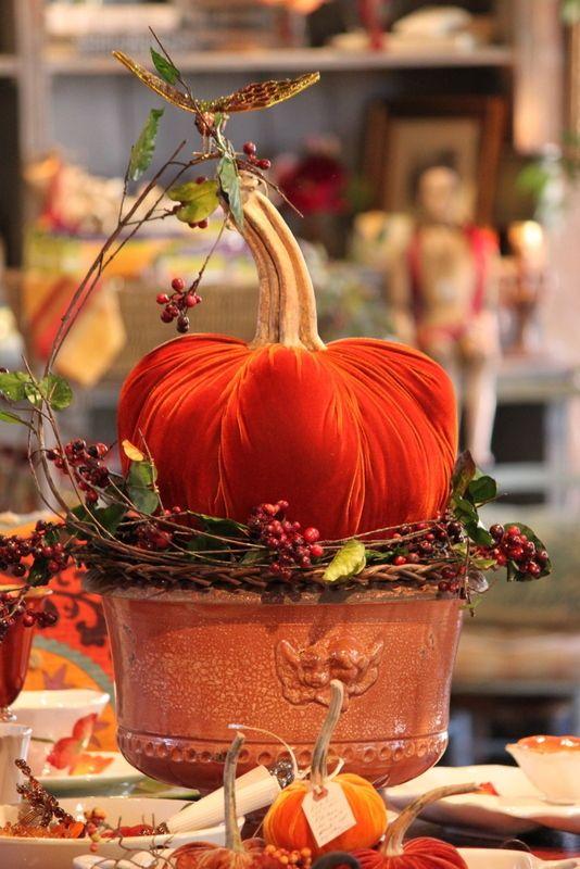Love these Hot Skwash Velvet Pumpkins: Decor, Holiday, Ideas, Pumpkin Centerpiece, Hot Skwash, Autumn, Fall, Velvet Pumpkins