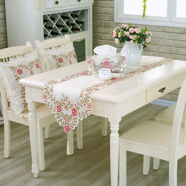 Blanco europeo crochet camino de mesa decoraci n de la for Mesas de comedor rectangulares